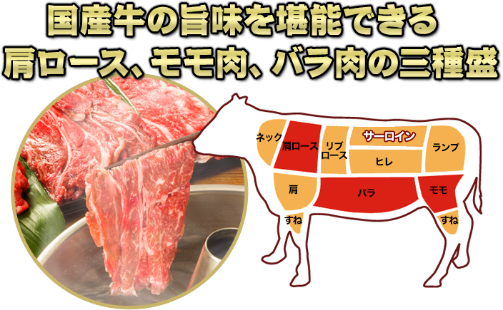 国産和牛の旨味を堪能できる三種盛り