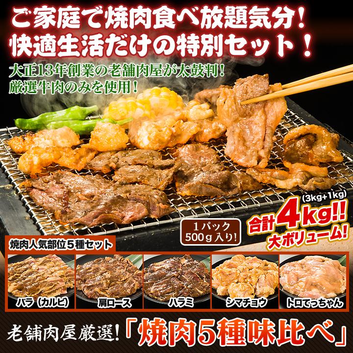 ご家庭で焼肉食べ放題気分!快適生活だけの特別セット「老舗肉屋厳選!焼肉5種味比べ」