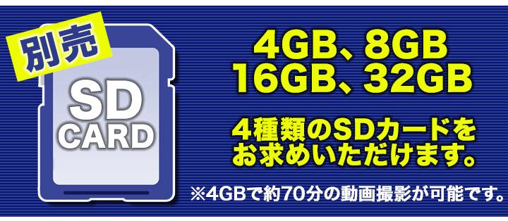 録画にはSDカードが必要です。SDカードは別売りです。