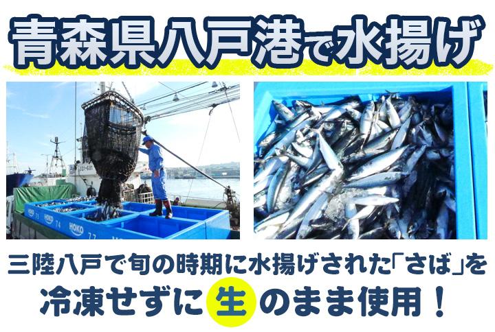 三陸八戸で旬の時期に水揚げされたさばを冷凍せずに生のまま使用!