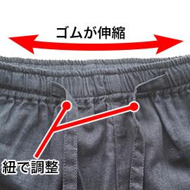 ゴムと紐で調節できるから使いやすい