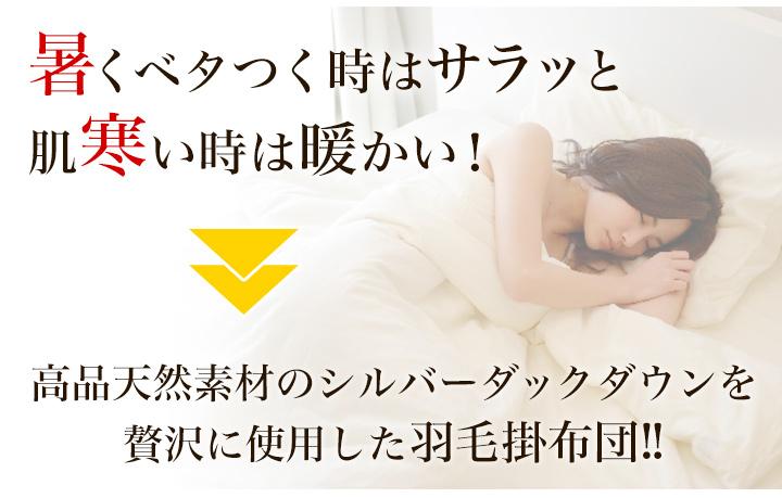 高品天然素材のシルバーダックダウンを贅沢に使用した羽毛掛布団!!
