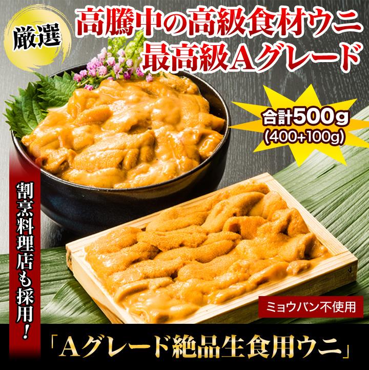 高騰中の高級食材ウニ最高級Aグレード!割烹料理店も採用!「Aグレート絶品生食用ウニ」