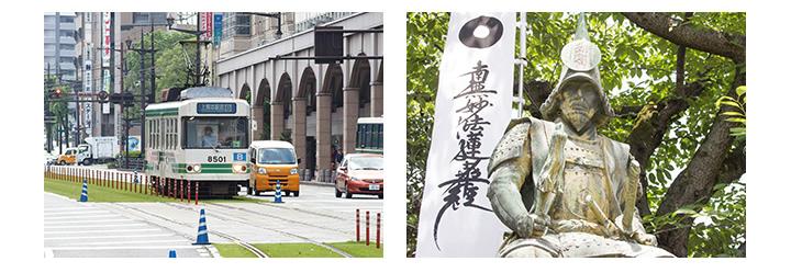 熊本の風景と加藤清正の像