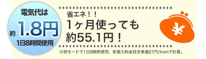 電気代は1日たった約1.8円