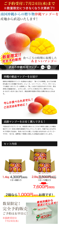 商品名:訳あり沖縄県産マンゴー1.4kg/2.8kg