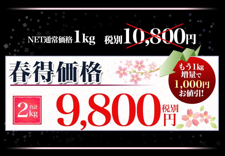 合計2kgで税別9,800円