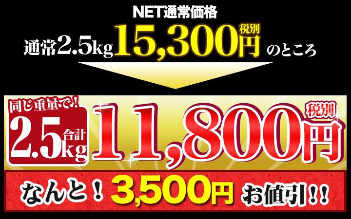 合計2.5kgで税別11,800円