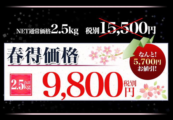合計2.5kgで税別9,800円