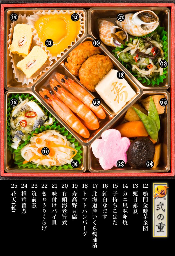 北海道産いくら醤油漬、有頭海老旨煮、筑前煮、椎茸旨煮