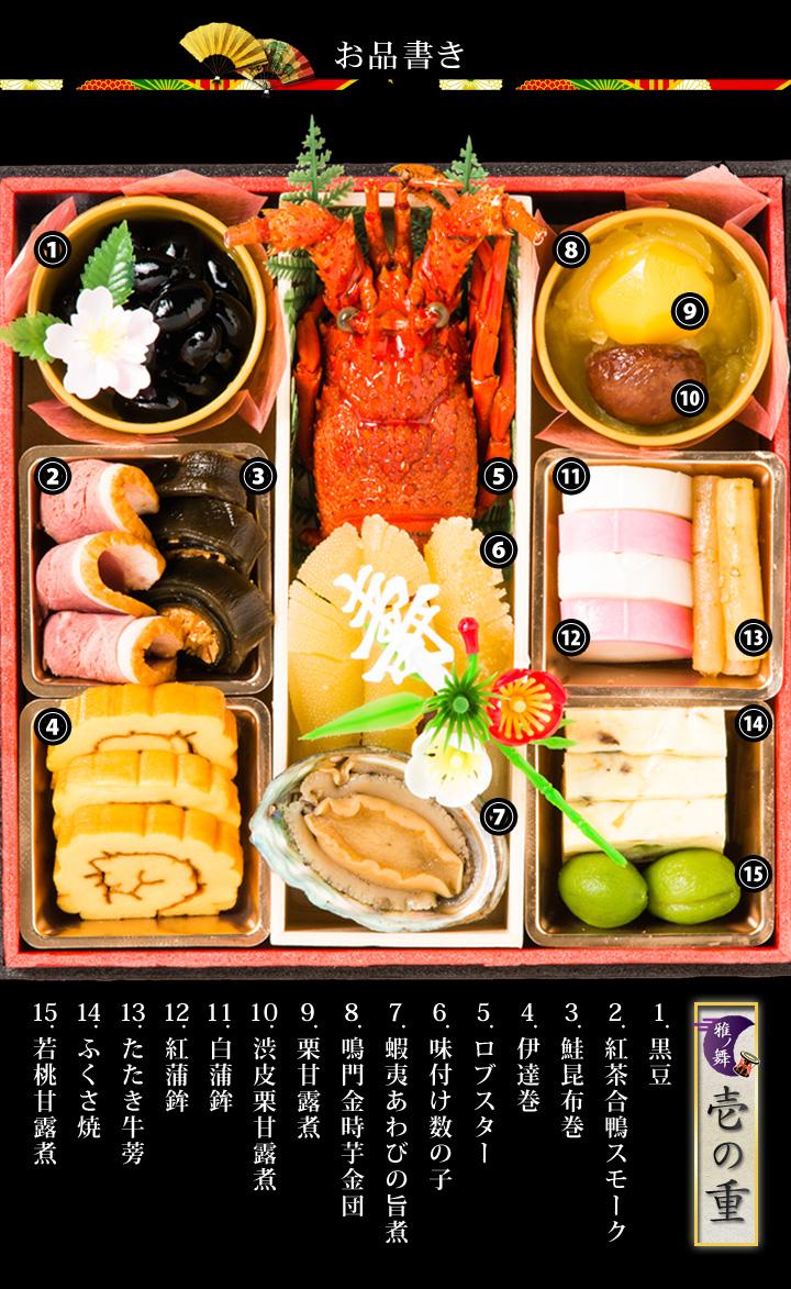 黒豆、紅茶合鴨スモーク、鮭昆布巻