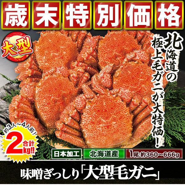 味噌ぎっしり「大型 毛ガニ」2kg(1+1kg)