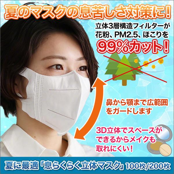 夏に最適「息らくらく立体マスク」100枚/200枚